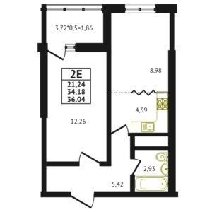 Евро 2-комнатная квартира - 36.04 м2