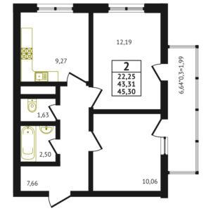 2-комнатная квартира - 45.30 м2