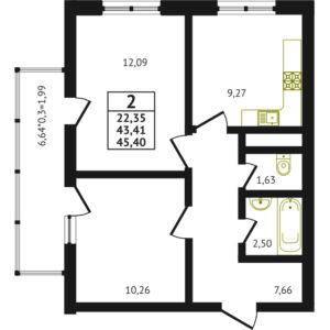 2-комнатная квартира - 45.40 м2