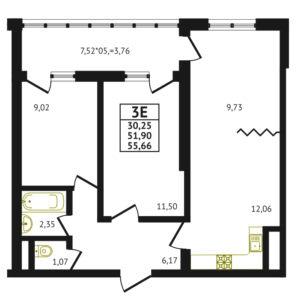 Евро 3-комнатная квартира - 55.66 м2