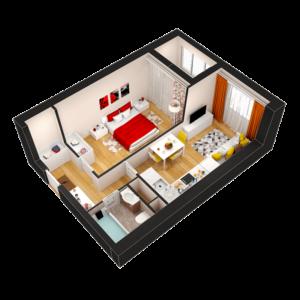 Евро 2-комнатная квартира - 35,20 м2 - 3D