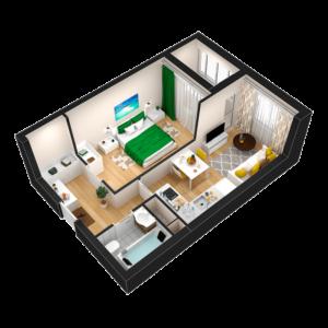 Евро 2-комнатная квартира - 36,03 м2 - 3D