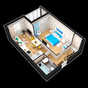 Евро 2-комнатная квартира - 38,13 м2 - 3D