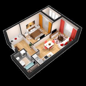 Евро 2-комнатная квартира - 44,76 м2 - 3D