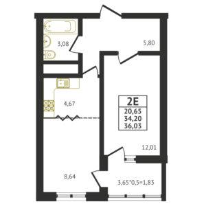 Евро 2-комнатная квартира - 36,03 м2