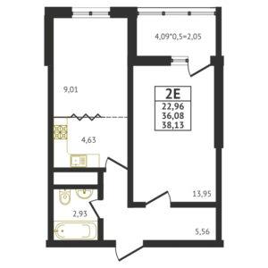 Евро 2-комнатная квартира - 38,13 м2