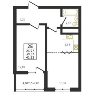 Евро 2-комнатная квартира - 41,62 м2