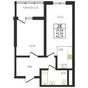 Евро 2-комнатная квартира - 43,79 м2