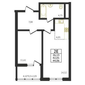 Евро 2-комнатная квартира - 44,06 м2