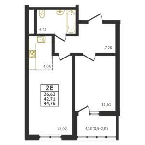 Евро 2-комнатная квартира - 44,76 м2