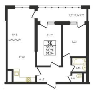 Евро 3-комнатная квартира - 55,54 м2