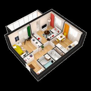 2-комнатная квартира - 45.40 м2 - 3D