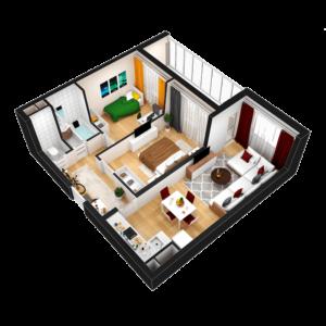 Евро 3-комнатная квартира - 55.66 м2 - 3D